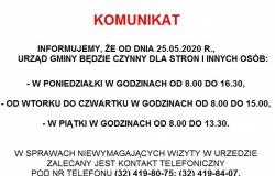 Zmiana zasad funkcjonowania Urzędu Gminy od 25.05.2020